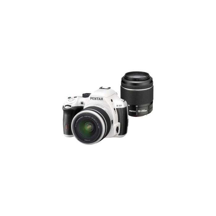 Pentax K-50 White with Black Grips, Digital Camera With 18-55mm F/3.5-5.6 DAL DAL AL WR F/3.5-5.6 (52) White & 50-200mm F/4-5.6 DAL ED WR Black Lens (49) {16.3 M/P}