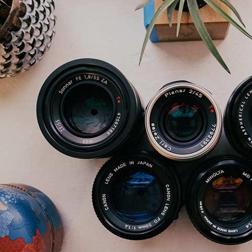 assortment of camera lenses
